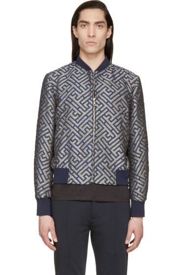Kenzo - Blue & Yellow Maze Embroidered Bomber