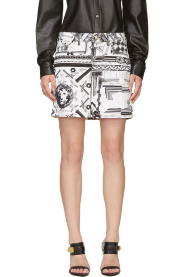 Versus - White & Black Mixed Print Anthony Vaccarello Edition Skirt
