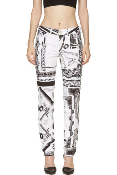 Versus - White & Black Mixed Print Anthony Vaccarello Edition Jeans