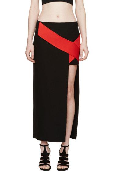 Versace - Black & Red Silk Cross Band Skirt