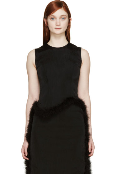 Simone Rocha - Black Feather Trimmed Top