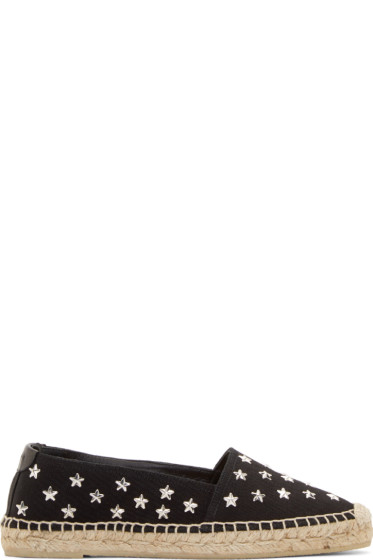 Saint Laurent - Black Canvas Star Stud Espadrilles