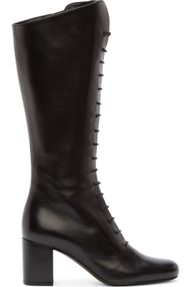 Saint Laurent - Black Leather Babies High Boots