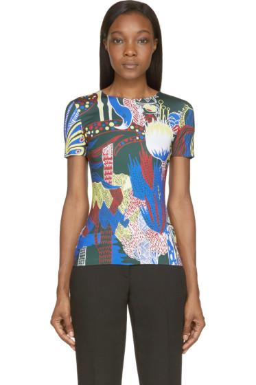 Mary Katrantzou - Dark Green Jungle Palette Print Fitted T-Shirt