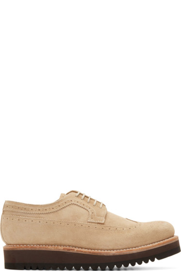 Grenson - Sand Suede Longwing Ripple Sole Sid Brogues