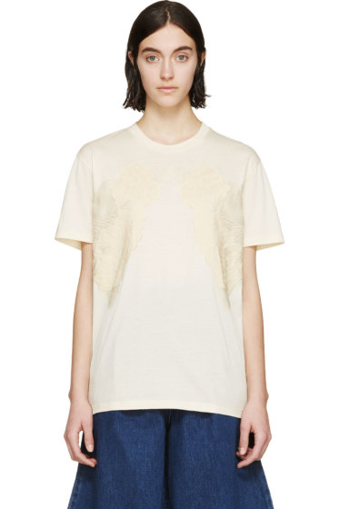 Stella McCartney - Cream Floral Embroidered T-Shirt
