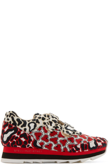 Stella McCartney - Red Animal Print Velcro Sneakers