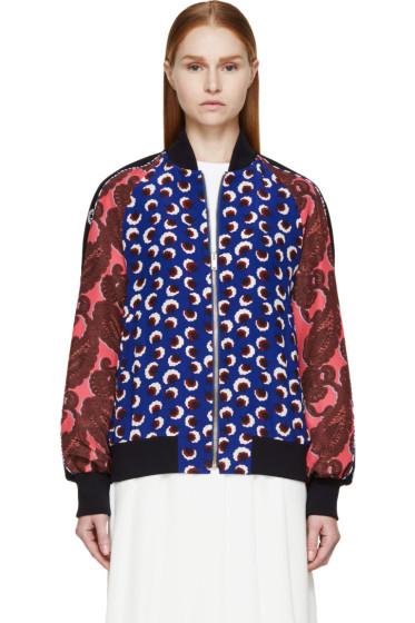 Stella McCartney - Ultramarine Blossom Print Silk Bomber Jacket