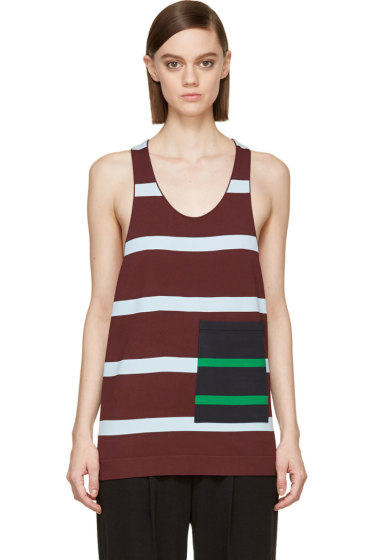 Stella McCartney - Burgundy Alternating Stripe Pocket Tank Top