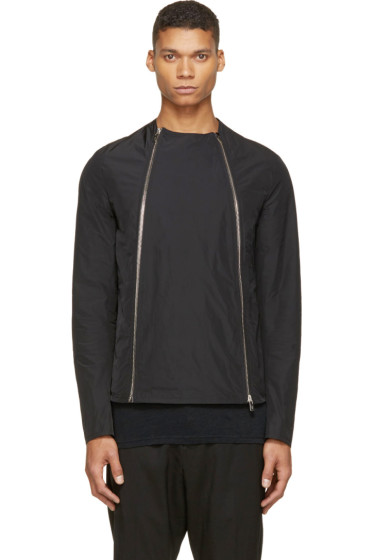 Thamanyah - Black Asymmetrical Zip-Up Jacket