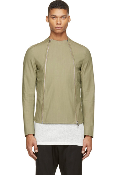 Thamanyah - Army Asymmetrical Zip Jacket