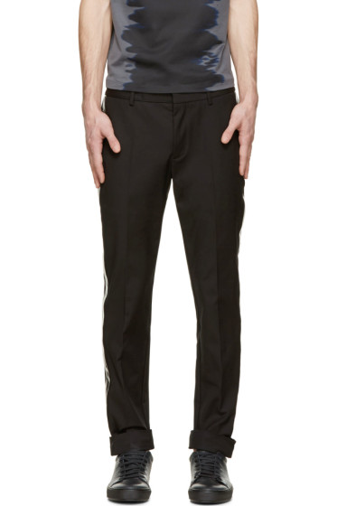 Calvin Klein Collection - Black PVC Trim Trousers