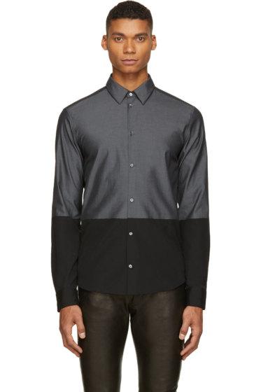 Costume National - Black & Grey Colorblocked Shirt