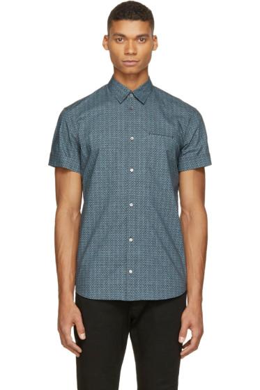Costume National - Black & Blue Patterned Shirt