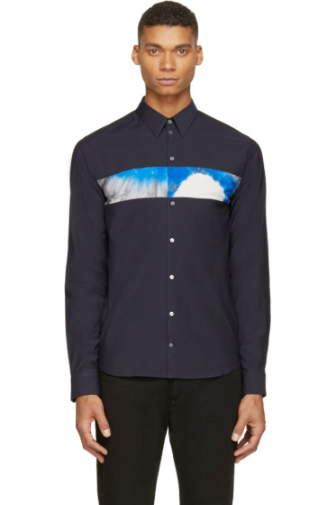 Costume National - Navy Tie-Dye Accent Shirt