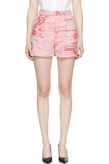 Giambattista Valli - Pink & Red Pleated Chenay Shorts