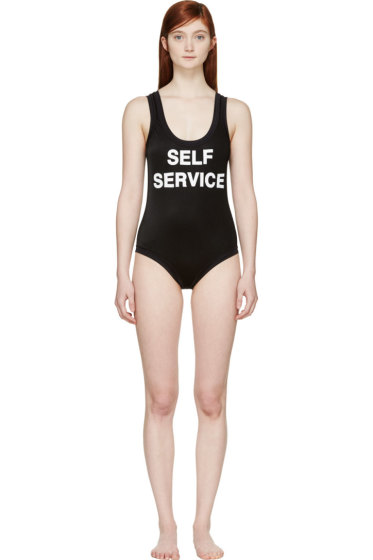 Filles a Papa - Black Ribbed Self Service Swimsuit