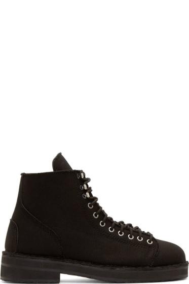 Yohji Yamamoto - Black Canvas & Leather Combat Boots