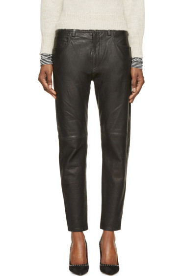 Isabel Marant Etoile - Black Washed Leather Bay Trousers