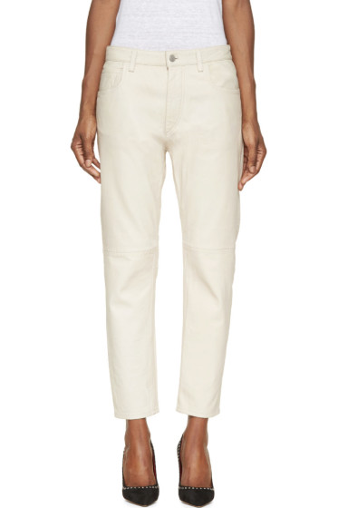 Isabel Marant Etoile - Ecru Washed Leather Bay Trousers