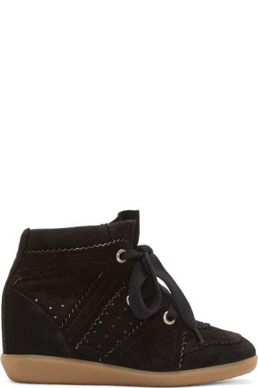 Isabel Marant - Black Suede Bobby Wedge Sneakers