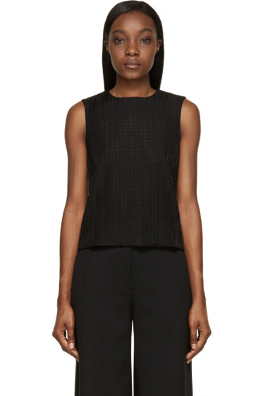 Studio Nicholson - Black Sheer Jacquard Okubu Sleeveless Top