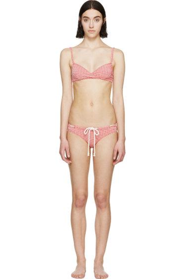 Lisa Marie Fernandez - Red & White Seersucker Yasmin Bikini