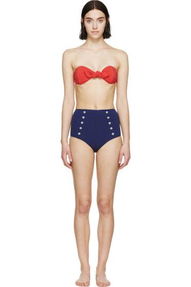 Lisa Marie Fernandez - Red & Navy High-Waisted Poppy Bikini