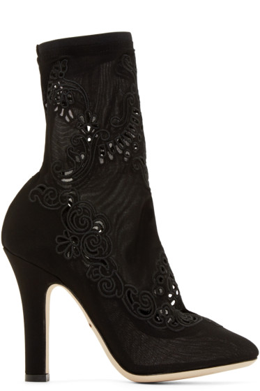 Dolce & Gabbana - Black Lace Sock Boots