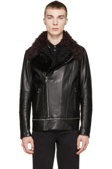 Dolce & Gabbana - Black Shearling Biker Jacket