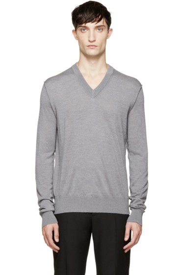 Dolce & Gabbana - Grey V-Neck Sweater