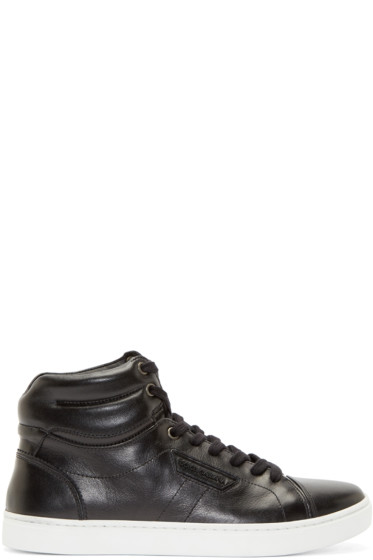 Dolce & Gabbana - Black Leather London High-Top Sneakers