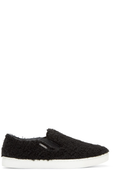 Dolce & Gabbana - Black Shearling London Sneakers