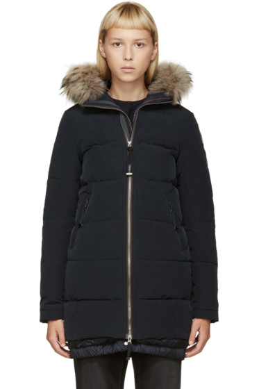 Parajumpers - Navy Fur Hooded Long Gwyneth Coat