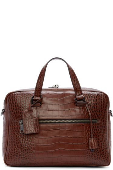 Marc by Marc Jacobs - Brown Croc-Embossed Johnny Briefcase