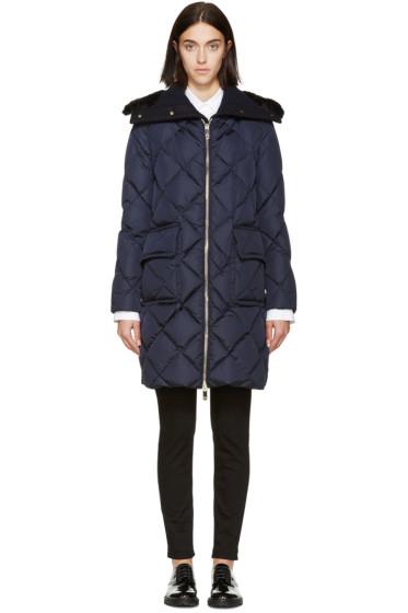Moncler - Navy Down & Fur Diamond Breeze Coat