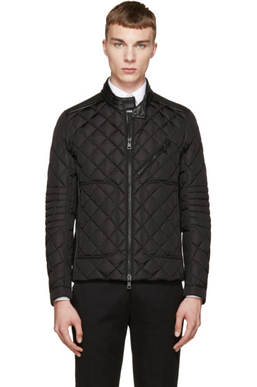 Moncler - Black Down & Leather Quilted Giraudo Jacket