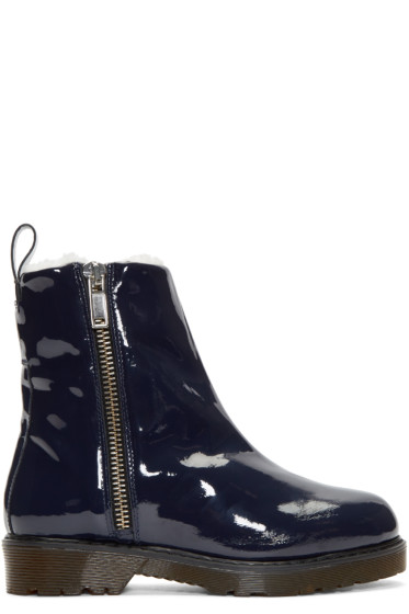 McQ Alexander Mcqueen - Navy Patent Leather & Shearling Dalston Boots