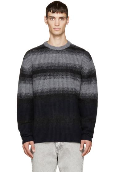McQ Alexander Mcqueen - Grey & Navy Mohair Striped Sweater