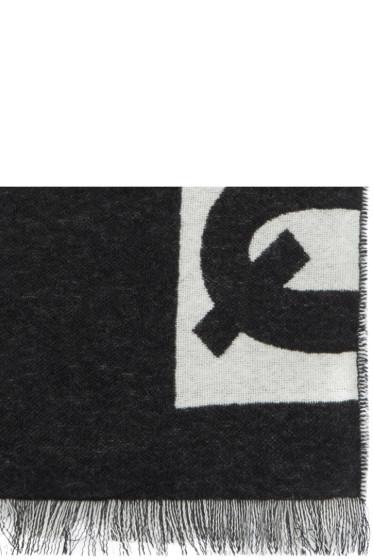 McQ Alexander Mcqueen - Black & White Knit logo Scarf