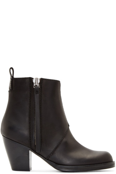 Acne Studios - Black Matte Leather Pistol Boots