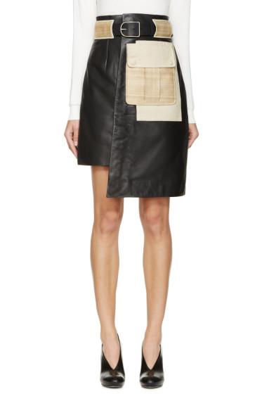 Acne Studios - Grey Leather & Raffia Skirt
