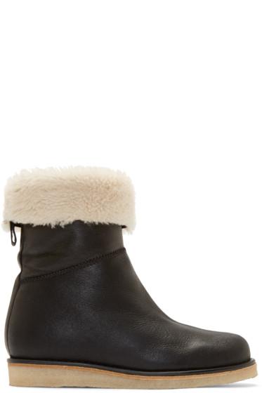 Acne Studios - Black Shearling Ila Boots