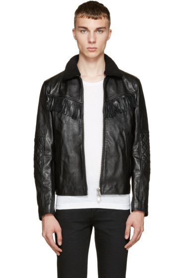 Dsquared2 - Black Leather & Shearling Trapper Jacket