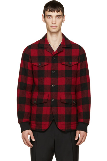 Dsquared2 - Red & Black Wool Canadian Blazer