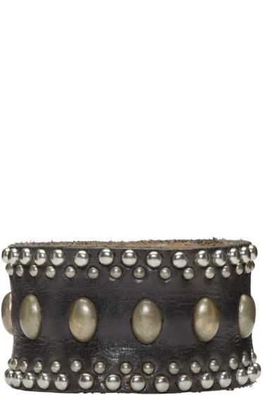 Dsquared2 - Black Studded Leather Bracelet