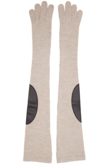 Maison Margiela - Beige Long Gauge 7 Gloves
