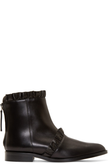 Christopher Kane - Black Leather Frill Boots