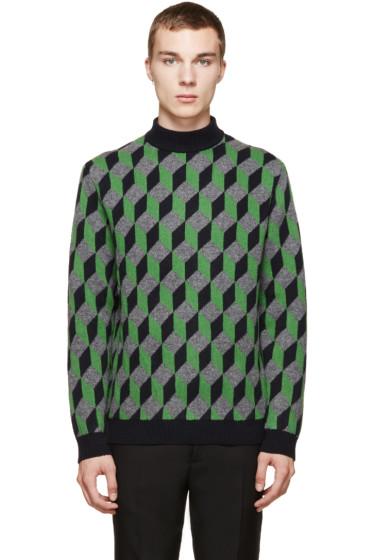 Christopher Kane - Navy 3D Cube Knit Sweater