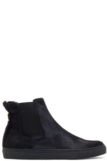 Christopher Kane - Navy Calf-Hair Slip-On Boots